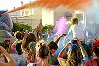 Children´s Holi Festival, Llucmajor, Mallorca, Balearic islands, Spain.