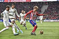 Football match between Atletico de Madrid vs Real Madrid at the Wanda Metropolitan Stadium, with a draw result at 0. Spanish football league.