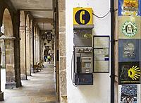 Public telephone on the Camino de Santiago, in a street of Santiago de Compostela