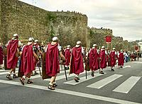 Roman soldiers during the recreation story in Lugo, of Arde Lucus. Military parade of the praetorian guard and the Roman soldiers on the outer perimet...