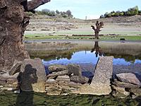 Drought in the Portomarin reservoir, Lugo Dry trees and stones and reflection in the water and shadow of the photographer. Galicia, Spain.