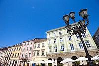 Traditional architecture lines Rynok (Market) Square, Lviv, Ukraine.