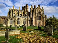 View of Melrose Abbey in Scottish Borders, Scotland, United Kingdom.