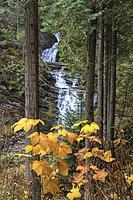 Looking at Lower and upper Sweetcreek Falls near Metaline, Washington.