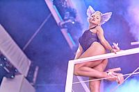 athletic dancer girl at music festival Starbeach, on 12. July 2017. Russian ethnicity. In Hersonissos, Crete, Greece