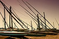 wooden boats on a dry dock, El-Burullos, Kafr El-Sheikh, Egypt, Africa