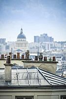 Paris rooftops and the cupola of Pantheon. Paris, France