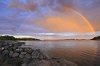 Rainbow over Navelso, Smaland, Sweden