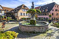 fountain and old houses in the centre of the village Barr, on the Wine Route of Alsace, France.