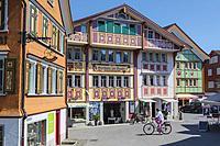 Appenzell, Appenzell Innerrhoden Canton, Switzerland. Typical architecture in Sternenplatz.
