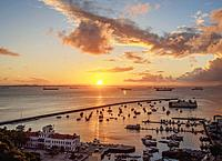 Sunset over Bay of All Saints, Salvador, State of Bahia, Brazil.