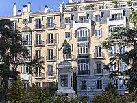 Statue of Cervantes in the Plaza de las Cortes. Madrid, Spain.