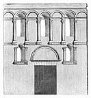 Architectural plan of the Golden Gate at Diocletian's Palace, built for the Roman Emperor Diocletian at the turn of the fourth century AD. Today the p...