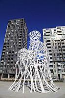 Canada, Quebec, Montreal, Source, sculpture by Jaume Plensa,.