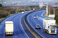 cross border freight and vehicle traffic on the N1/M1 motorway crossing the irish border between Northern Ireland and Republic of Ireland soon to be t...