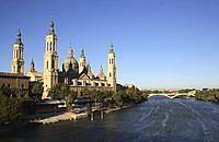 Basílica de Nuestra Senora del Pilar cathedral by Ebro River Zaragoza Spain.