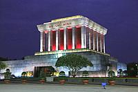 Ho Chi Minh Mausoleum at Night, Hanoi, Vietnam.