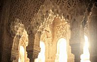 Columns, Patio de los Leones, Alhambra, Granada, Andalucia, Spain.
