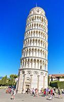 Tourist visiting famous Italian landmark Pisa tower.