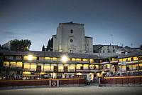 Main square of Chinchón, Festival with bullring in the town square. Comunidad de Madrid, Spain.