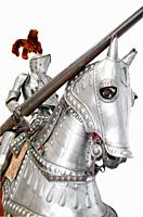Knight on warhorse on white isolated background.