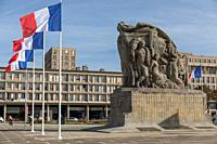 War memorial. Place General de Gaulle, Le Havre, Normandy, France