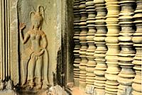 Detail of some relieves in Angkor Wat, Angkor area, Siem Reap, Cambodia
