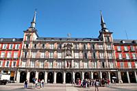 Partial view of the Plaza Mayor of Madrid, Spain
