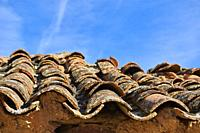Roof Tiles over Adobe House, Province of zamora, Castilla y Leon, Spain, Europe.