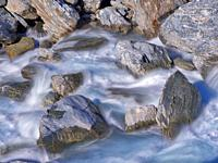 Rapids in Haast river in mountains of Haast Pass, West Coast, New Zealand.