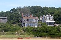 Homes on the beach, Wellfleet, Cape Cod, Massachusetts, United States.