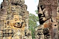 Stone faces of Bayon temple, Angkor Thom, Siem Reap, Cambodia.