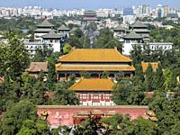 View from tower in Jingshan Park, Beijing, China, Asia.