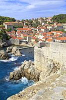 Fort Bokar on Dubrovnik City walls, Croatia, UNESCO world heritage site, Dalmatia, Dalmatian Coast, Europe.