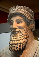Statue of a bearded man by Cyprus, 500th b. c. on British Museum, London, UK.