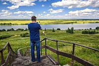 Tourist in the Oka river in the vicinity of the village of Konstantinovo, Ryazan region.