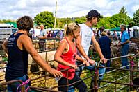 Young farmers survey the animals at the Wilton sheep sales in Wiltshire, England.