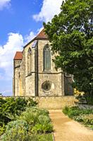 The Collegiate Church of St. Servatius seen from the monastery gardens, Quedlinburg, Saxony-Anhalt, Germany.