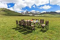 Having picnic near the road to Song Kol Lake, Naryn province, Kyrgyzstan, Central Asia.