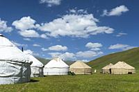 Nomad yurts, Road to Song Kol Lake, Naryn province, Kyrgyzstan, Central Asia.