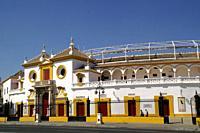 Sevilla (Spain). Exterior of the bullring of the Real Maestranza de Caballería de Sevilla.
