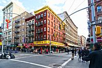 New York, NY, Manhattan. Chinatown Meets Little Italy at the Intersection of Mott and Grand Streets.
