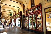 Passage in the Piazza Lagrange in Turin with Giordano's chocolate shop, one of the traditional chocolate shops in the city . Italy.
