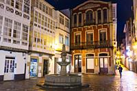 Fonte Nova square at night with traditional Galician architecture. Viveiro, Lugo province, Galicia, Spain, Europe.