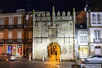 Castillo del Puente o Puerta de Carlos V, (Estilo plateresco, 1554) at night. Travesia da Marina street, Viveiro, Lugo Province, Galicia, Spain, Europ...