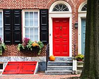Bright colorful front of ancient house, Philadelphia, Pennsylvania, USA.