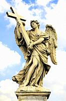 Angel with a Cross by Ercole Ferrata, Ponte Sant'Angelo - Rome, Italy.
