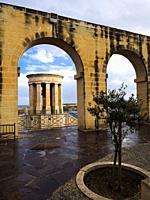 The Siege bell monument, a World War II Memorial site in the Upper Barakka gardens - Valletta, Malta.