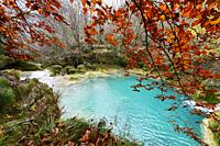 Turquoise water in the source of the Uderra River natural Park Urbasa-Andia, Baquedano, Navarre, Spain, Europe.