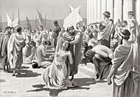 The Greek slave market at Phanagoria. After the painting by W. S. Bagdatopoulus, (1888-1965). From Hutchinson's History of the Nations, published 1915...
